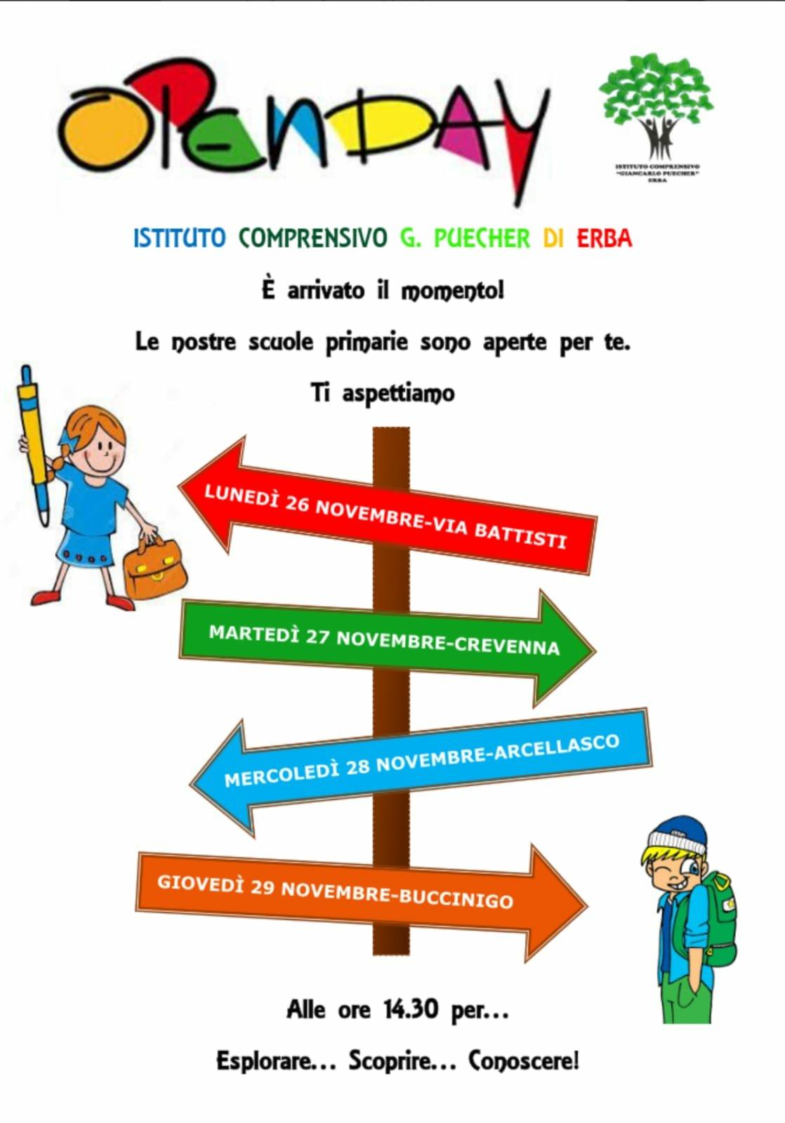 Open Day Scuole Primarie Istituto Comprensivo G Puecher